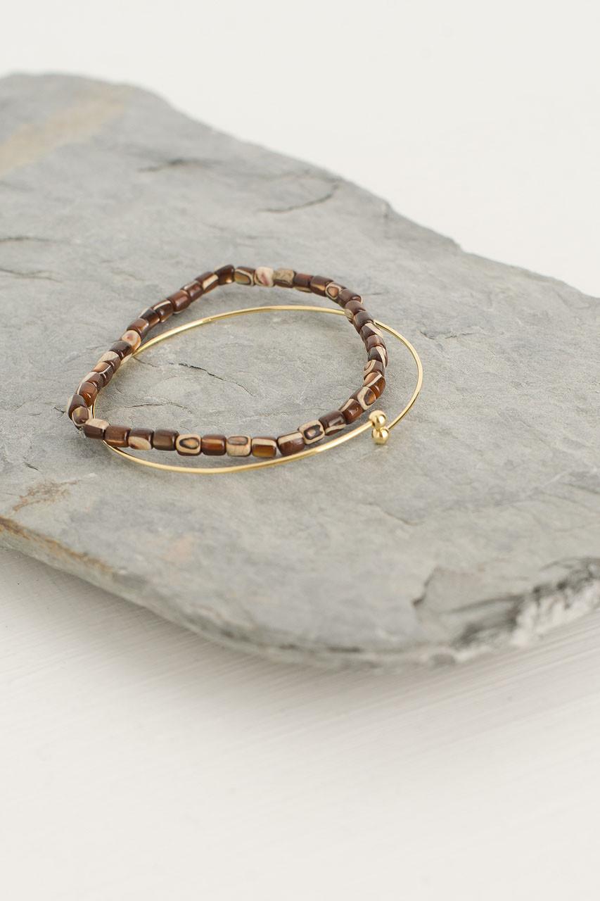 Helen Bracelet Set, Brown/Gold Plated