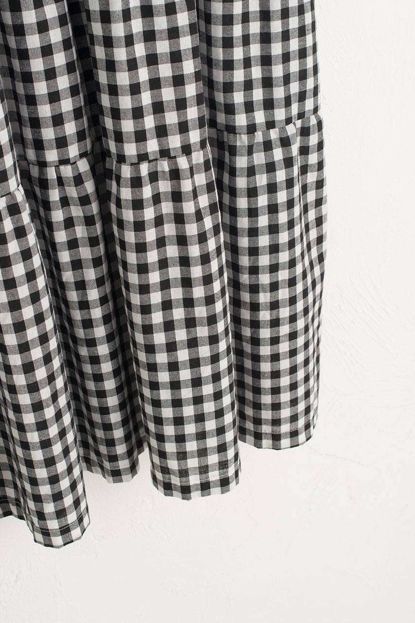 Tiered Gingham Check Dress, Black