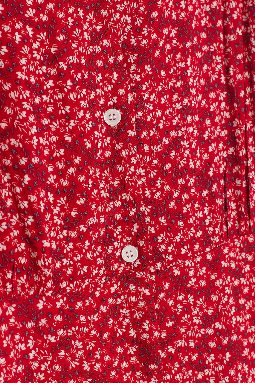 Square Neck Button Down Dress, Red