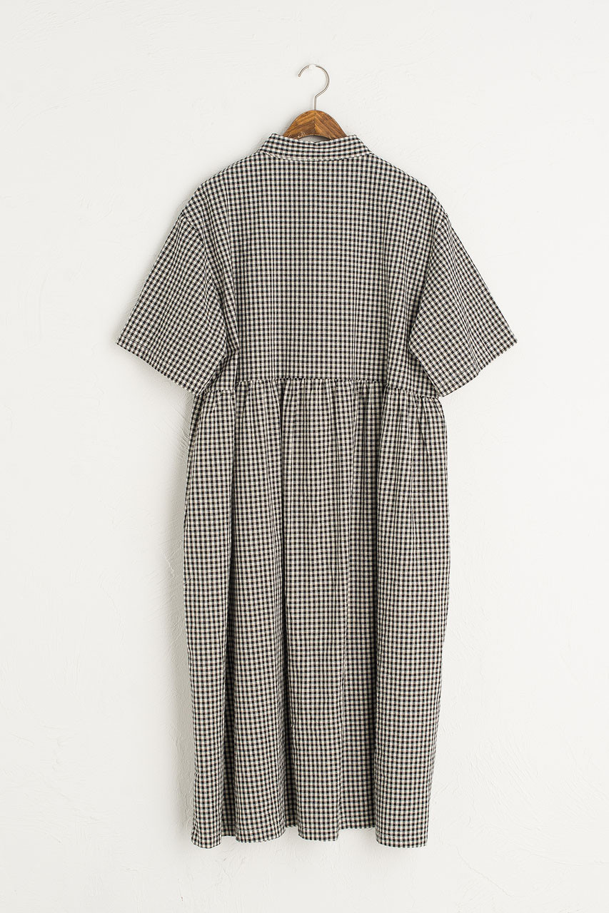Gingham Shirt Dress, Black