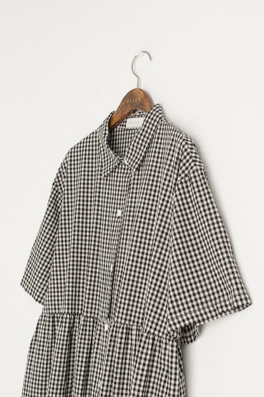 Gingham Shirt Dress, Black