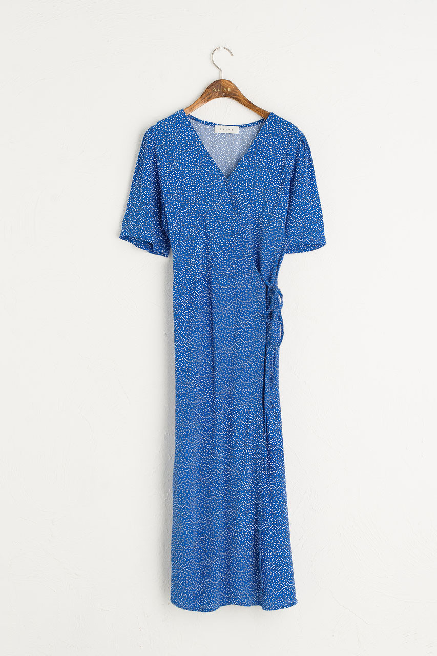 Ditsy Spot Wrap Dress, Blue