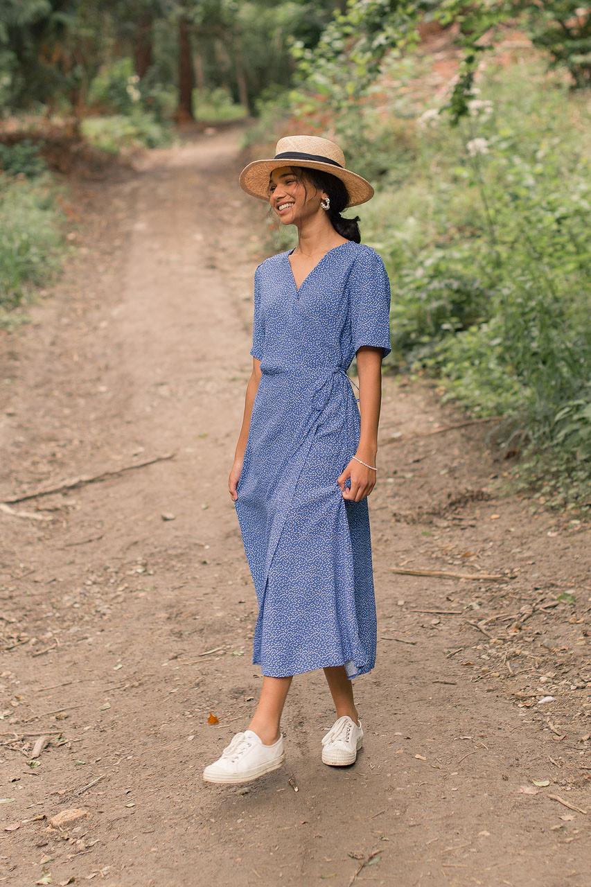 Ditsy Spot Wrap Dress, Blue