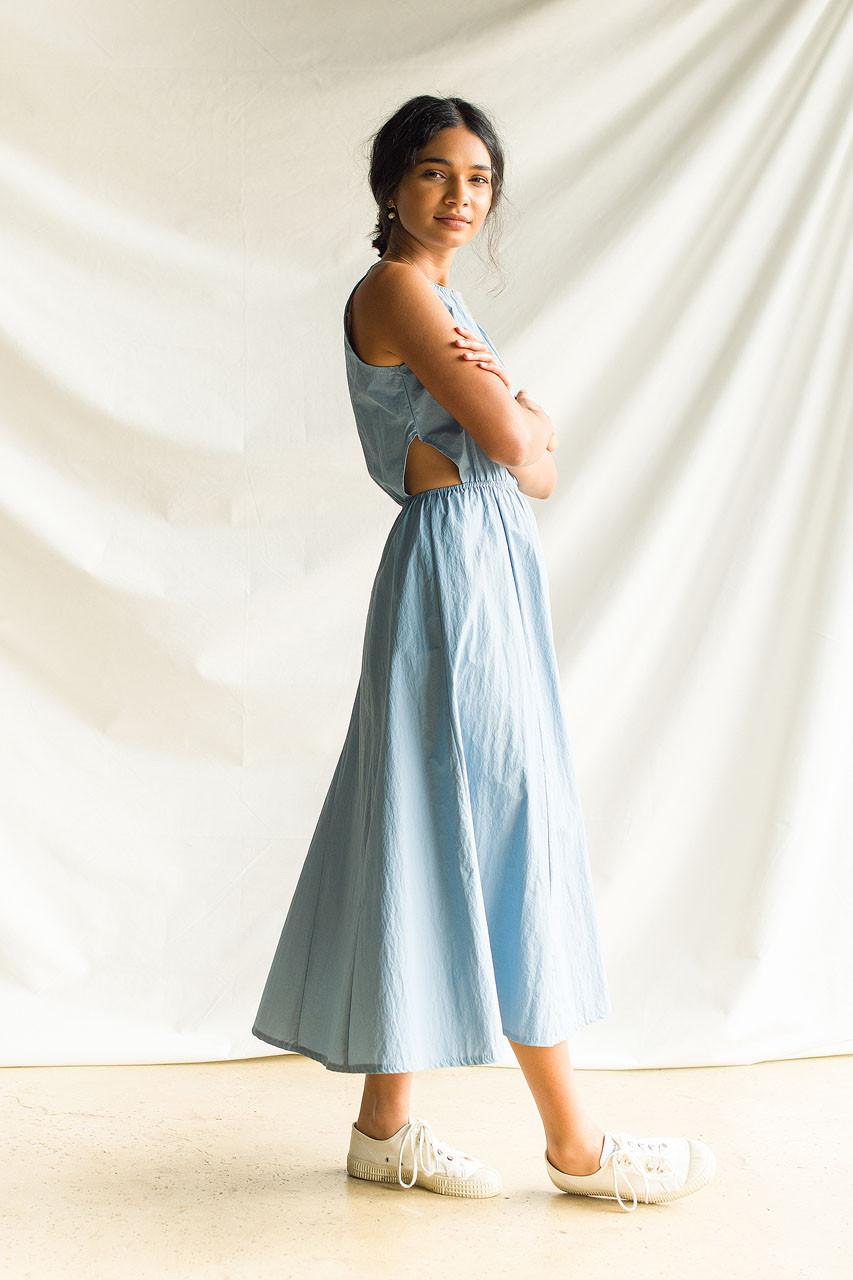 Mina Cut Out Waist Dress, Blue