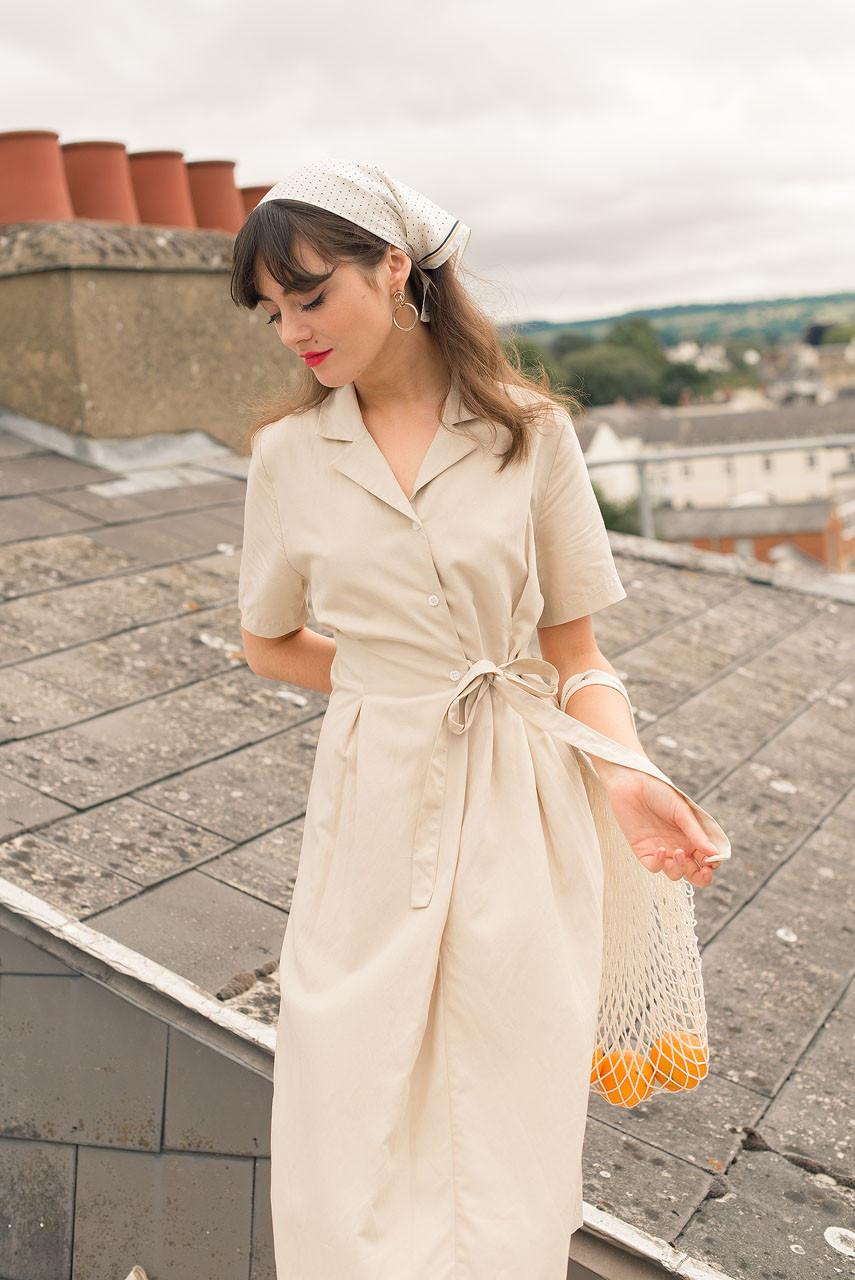 Shirt Style Wrap Dress, Beige