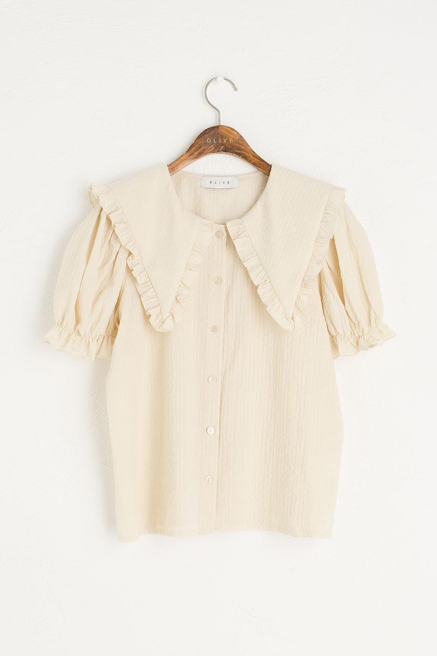 Takako Big Collar Blouse, Beige