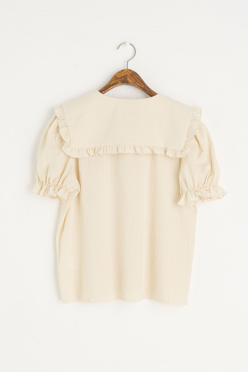 Takako Big Collar Blouse, Beige