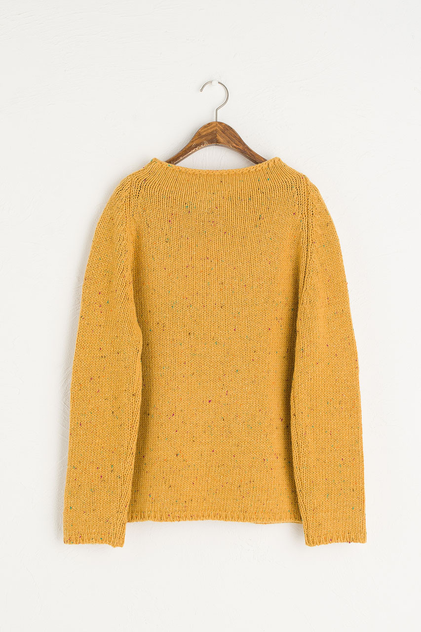 Flecked Fisherman Knit, Mustard