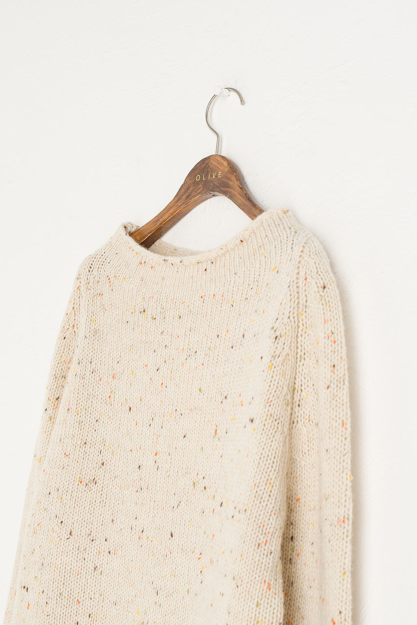 Flecked Fisherman Knit, Ivory