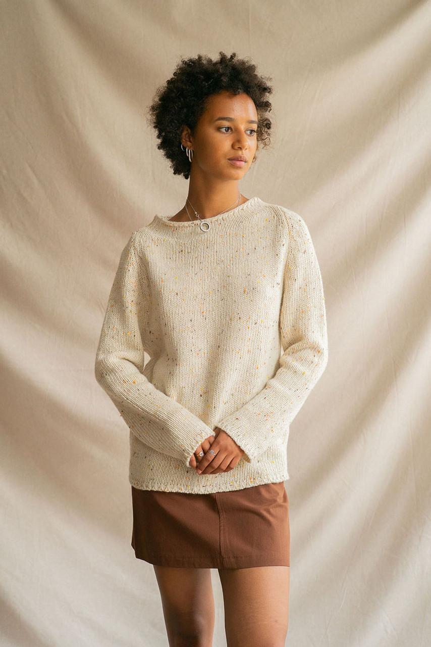 Flecked Fisherman Knit, Ivory