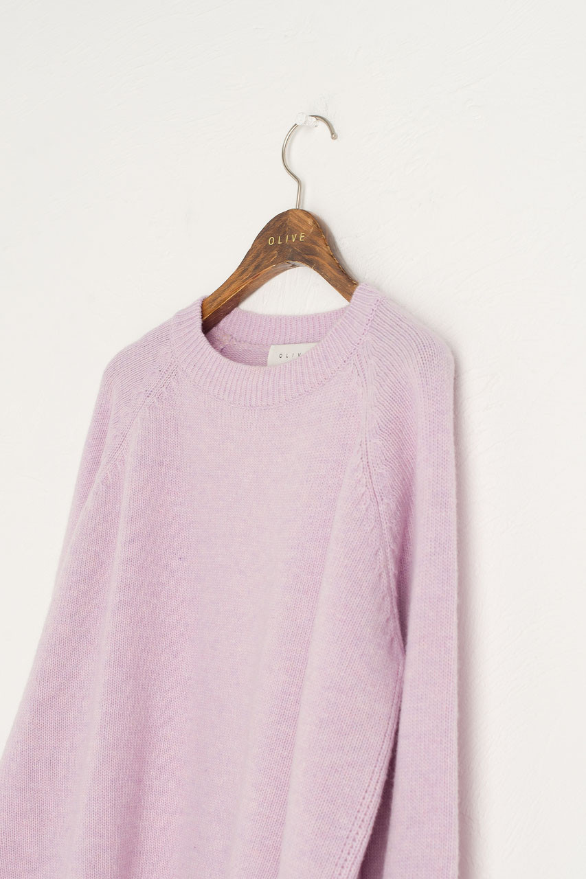 Slit Side Unbalance Crew neck Jumper, Lilac