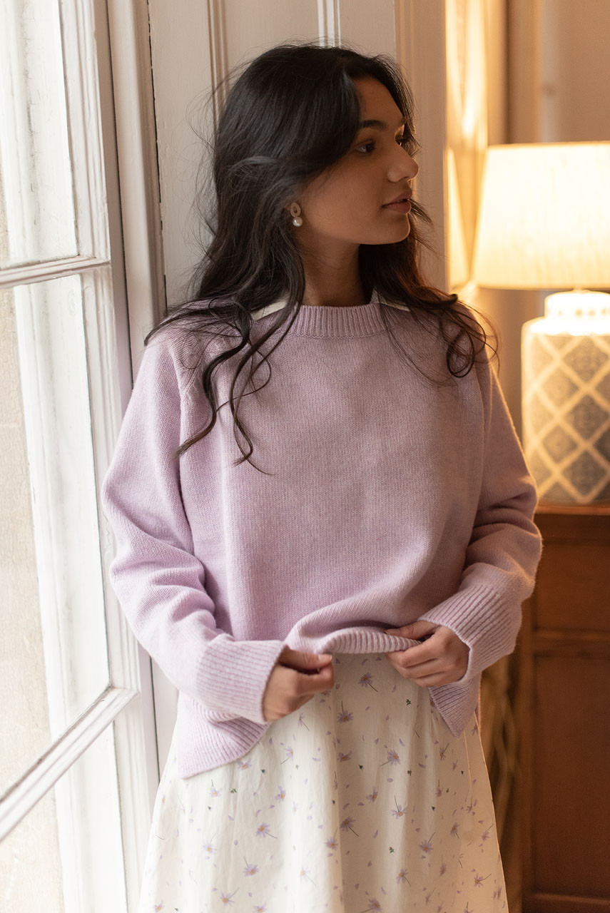 Unbalanced Crew Neck Knit, Lilac