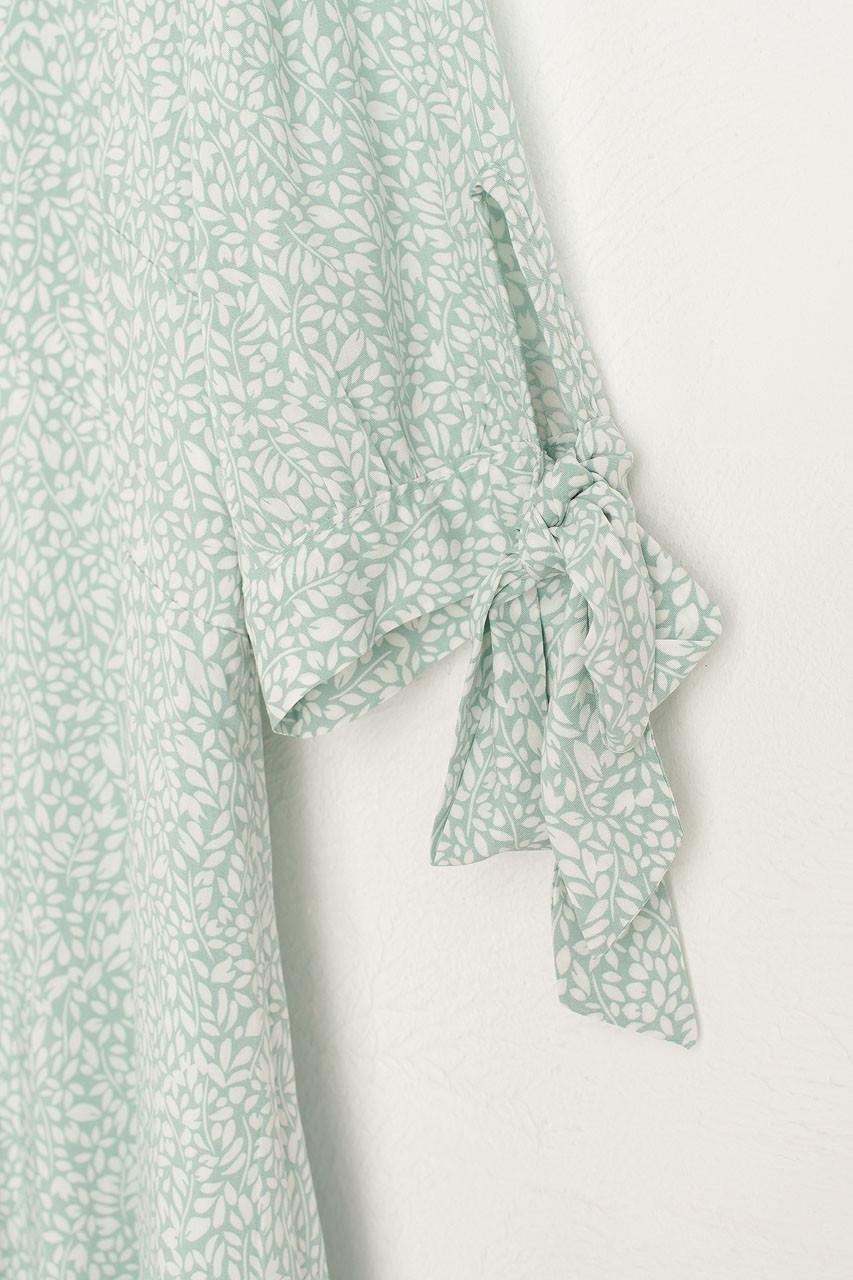 Jeanne Leaf Print Dress, Mint