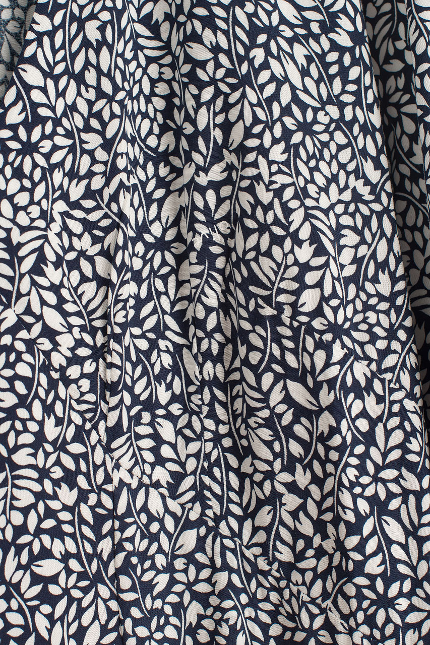 Jeanne Leaf Print Dress, Navy
