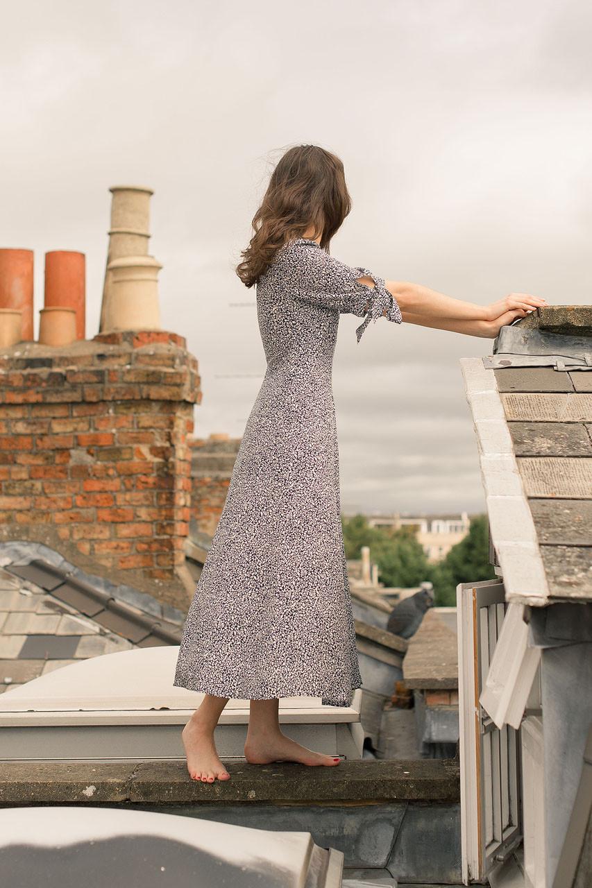 Jeanne Leaf Print Dress, Navy