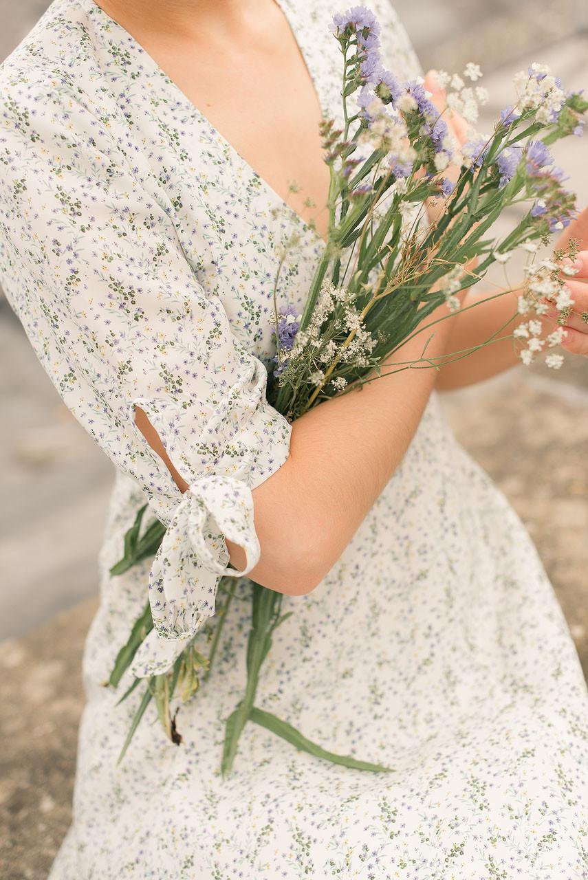 Jeanne Garden Print Dress, Ivory