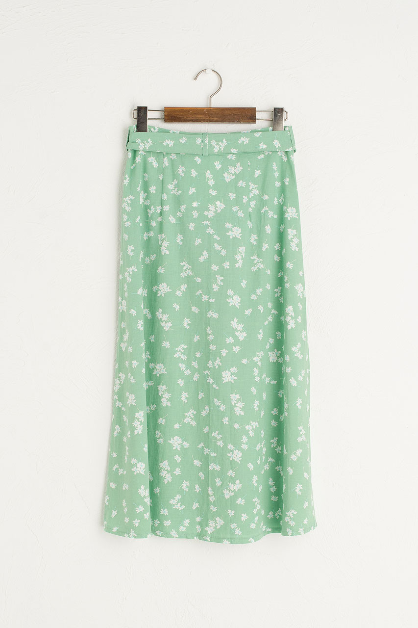 Button Down Flower Skirt, Green