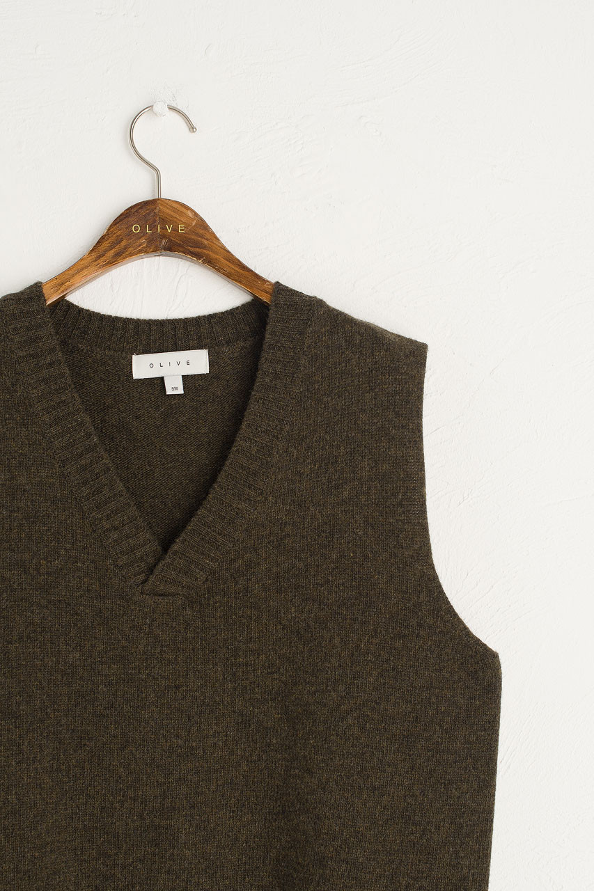 Boyfriend Knit Vest, Moss