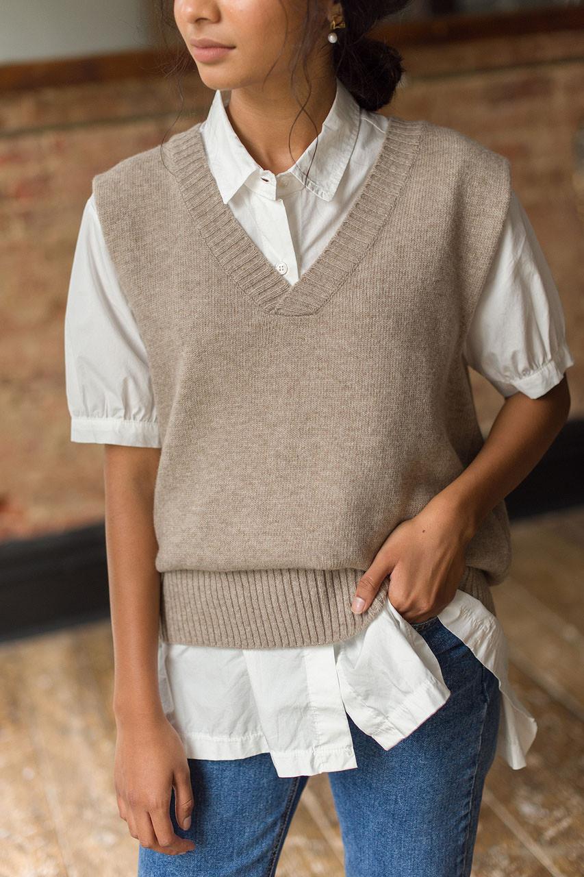 Boyfriend Knit Vest, Oatmeal