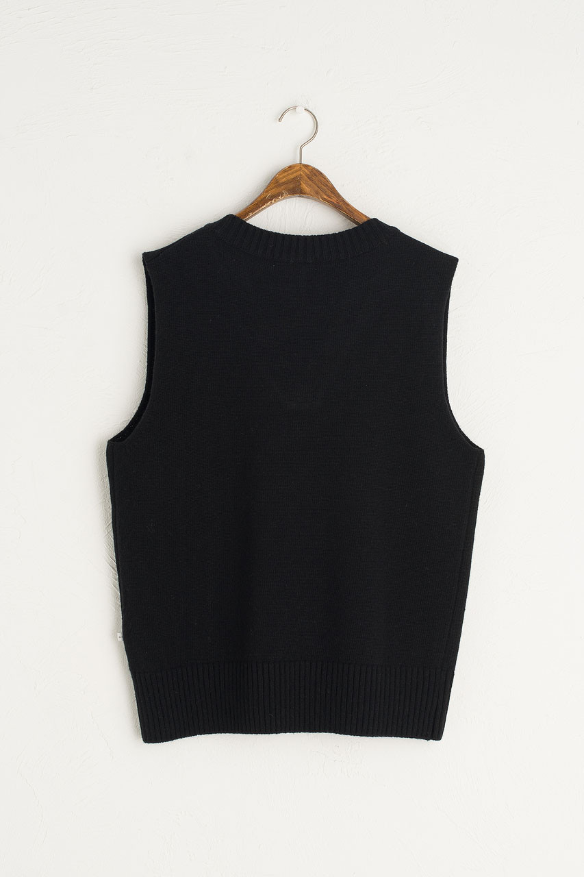 Boyfriend Knit Vest, Black
