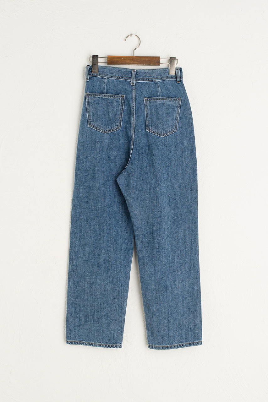 Hana Pleated Denim Jean, Mid Blue