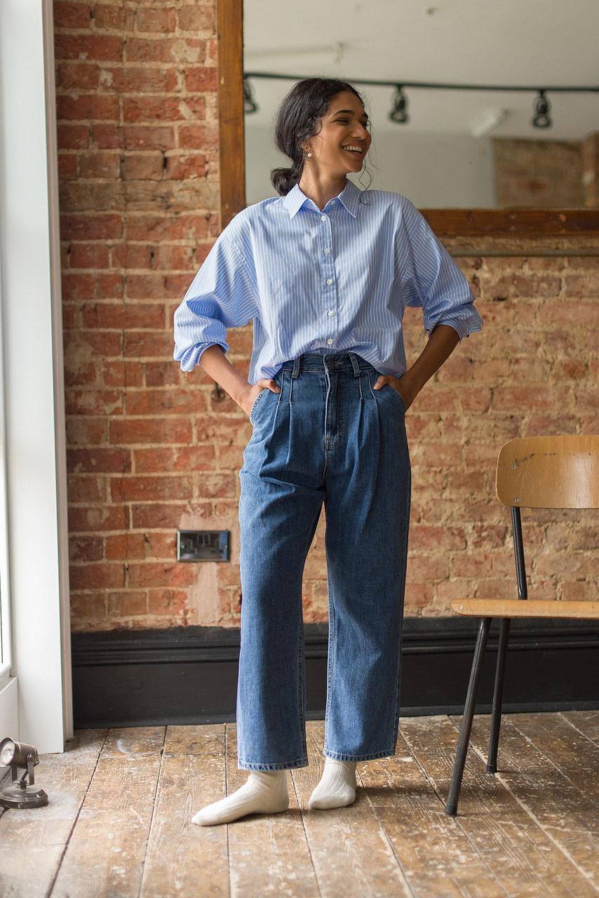 Hana Pleated Denim Jean, Mid Blue