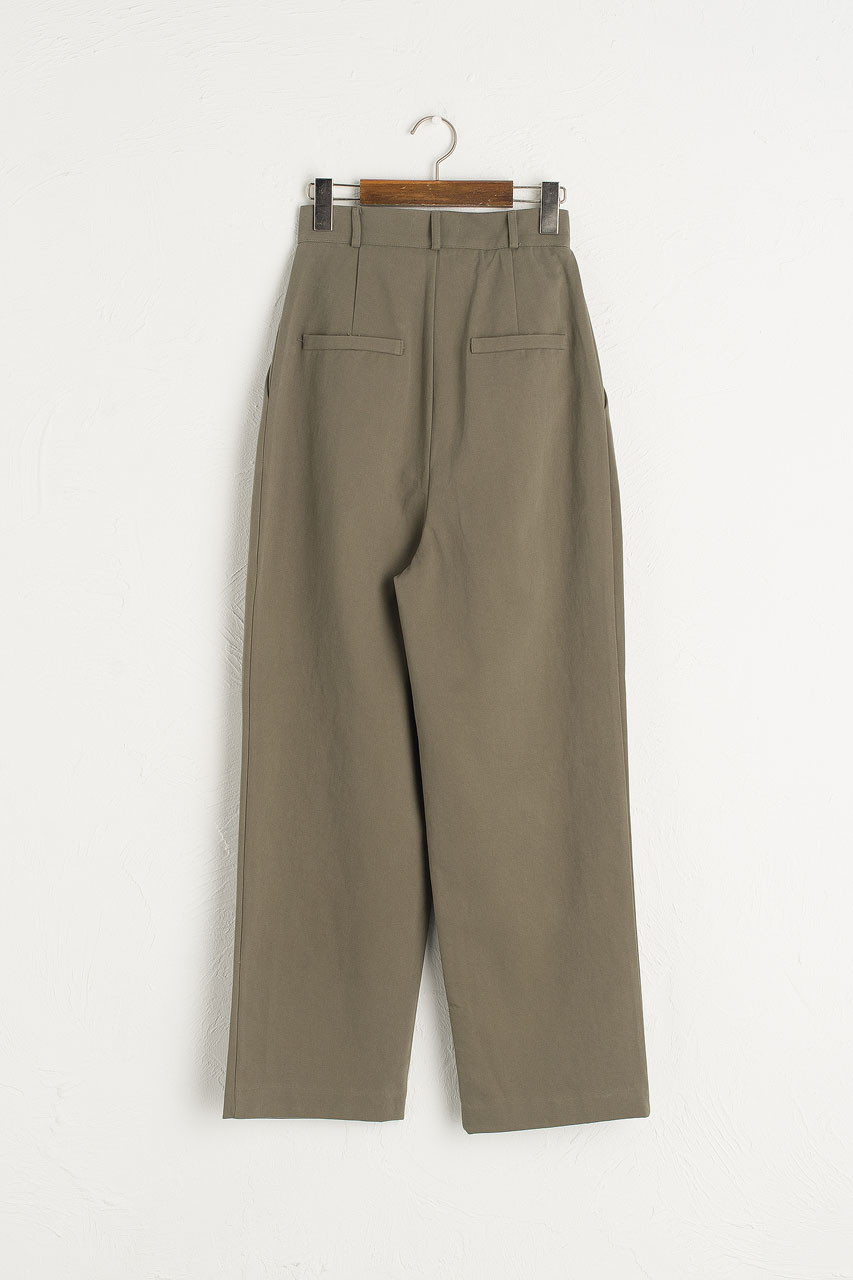 Boxy Pintuck Trousers, Khaki