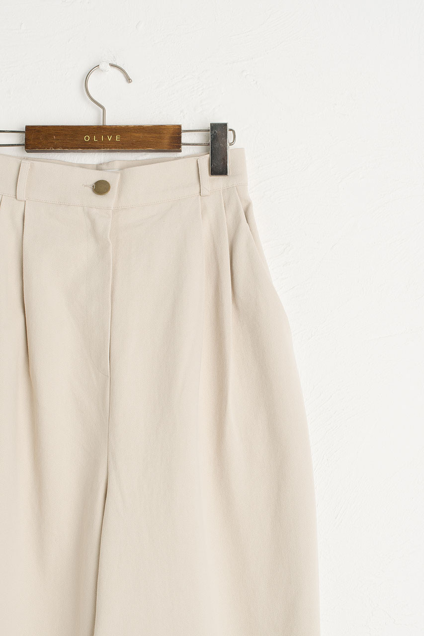 Boxy Pintuck Trousers, Cream