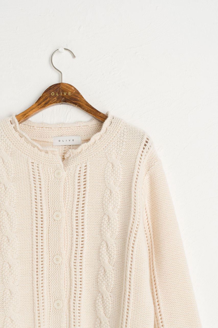 Kiko Cable Cardigan, Ivory