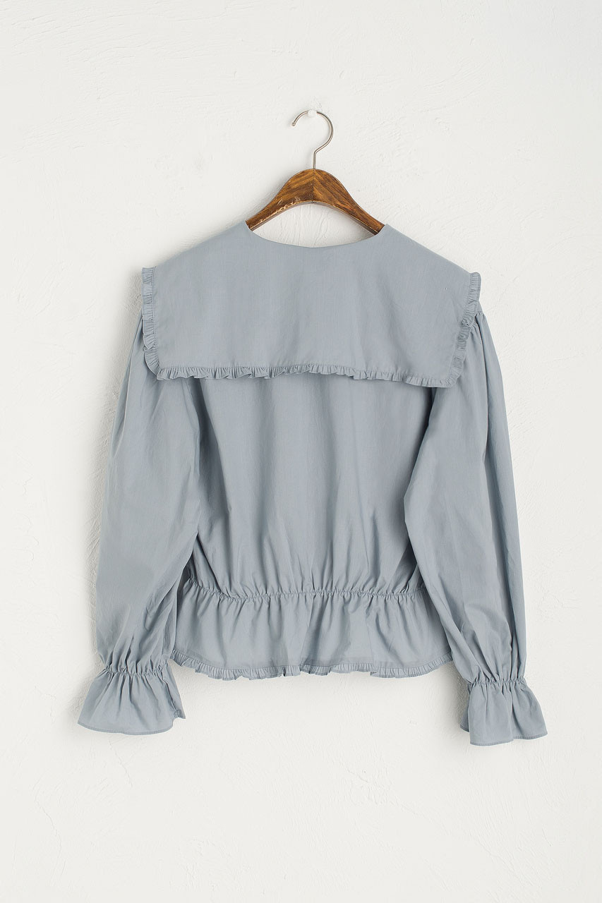 Sailor Frill Detail Blouse, Blue
