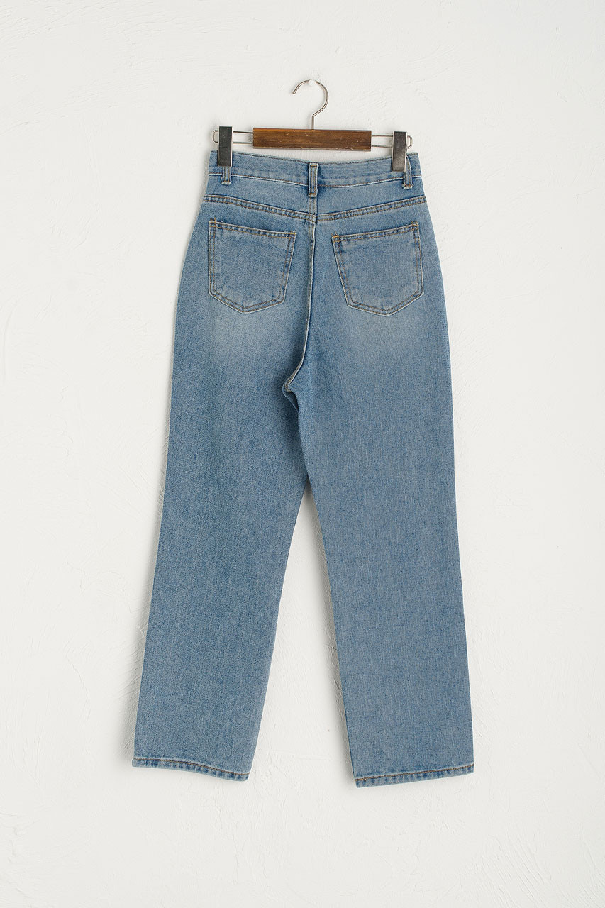 High Rise Straight Jean, Mid Blue