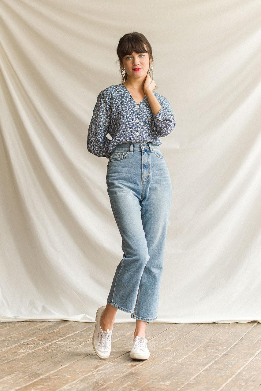 High Rise Straight Jean, Mid Blue