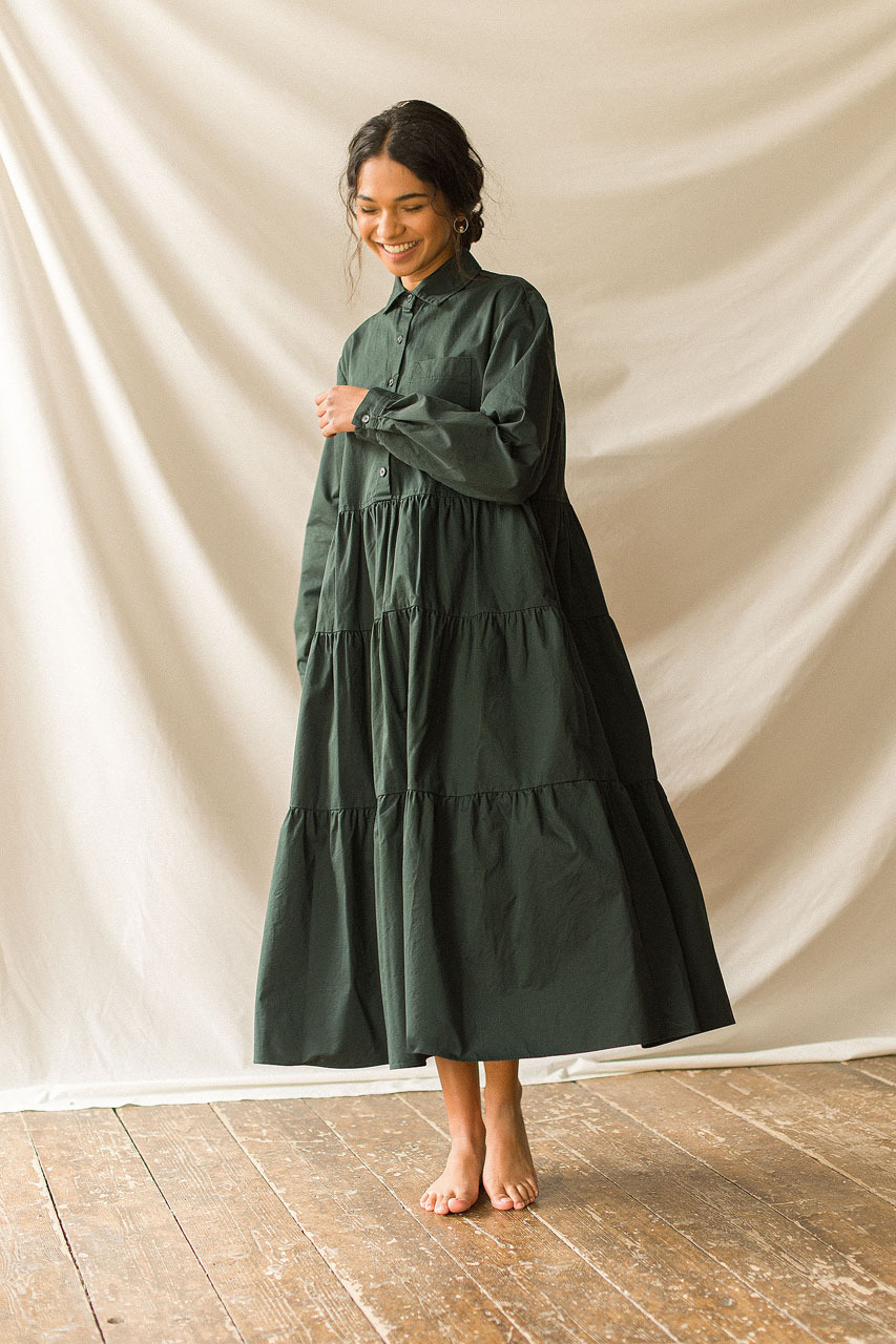 Tiered Oxford Shirt Dress, Green
