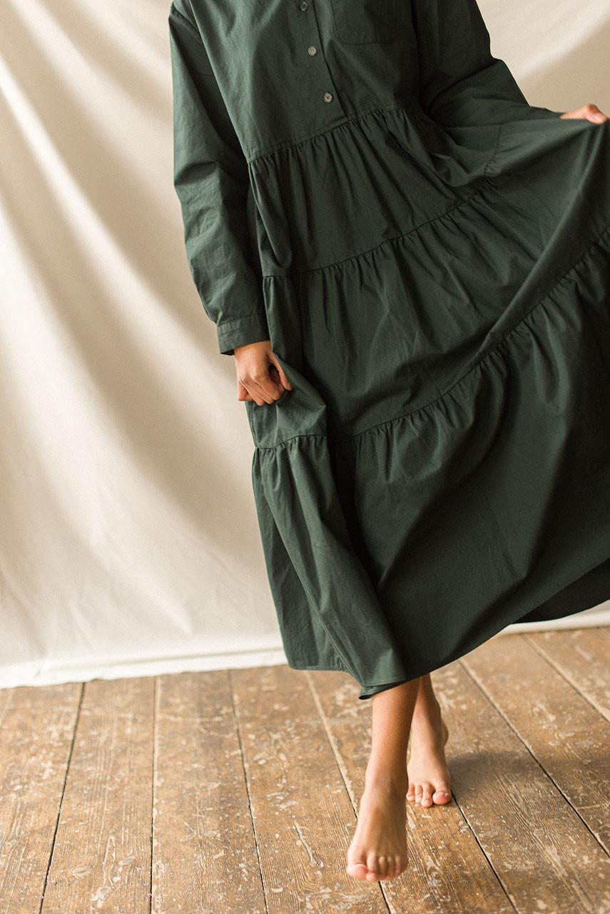Tiered Oxford Shirt Dress, Green