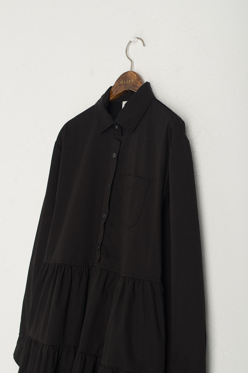 Tiered Oxford Shirt Dress, Black
