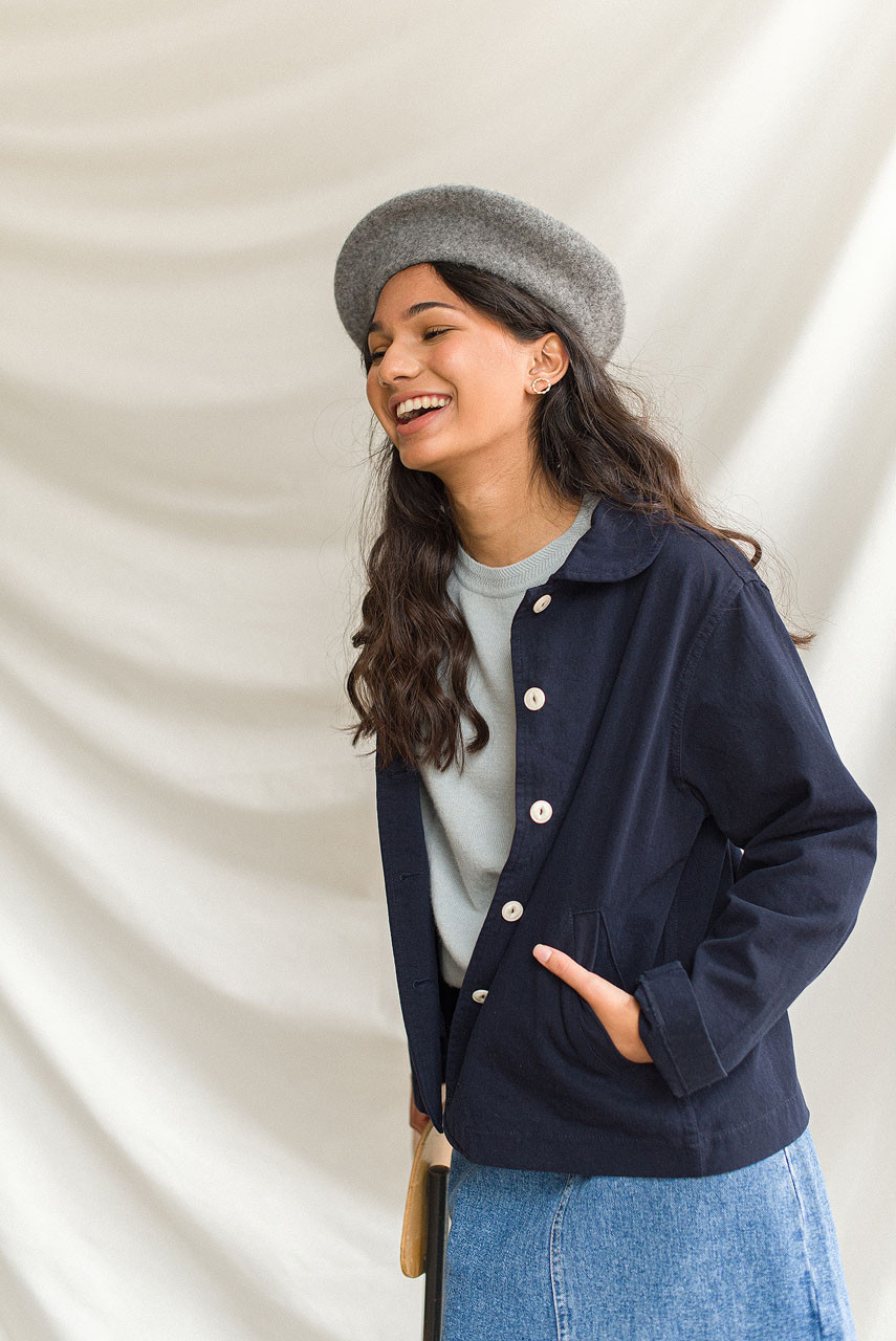 Peter Pan Collar Jacket, Navy