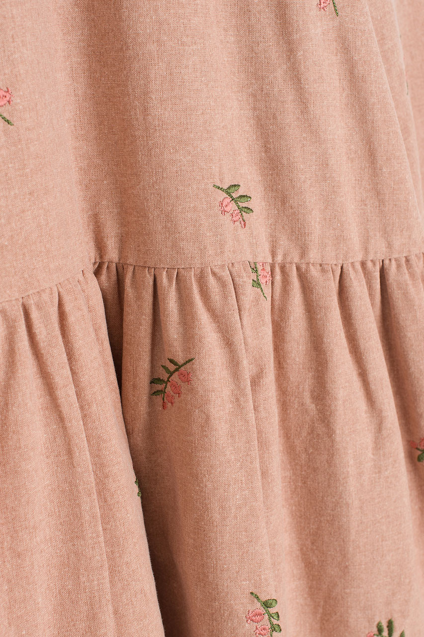 Foxglove Embroidered Dress, Pink