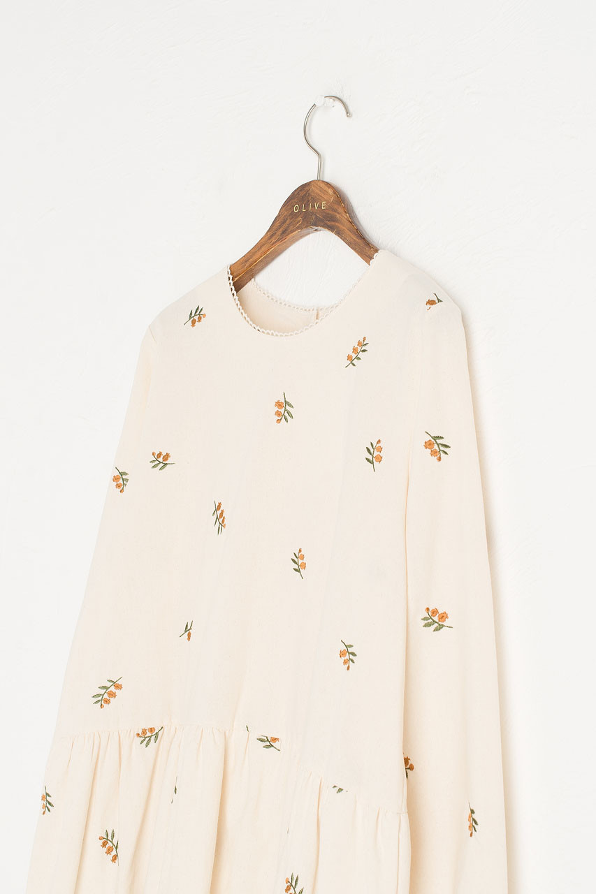Foxglove Embroidered Dress, Ivory