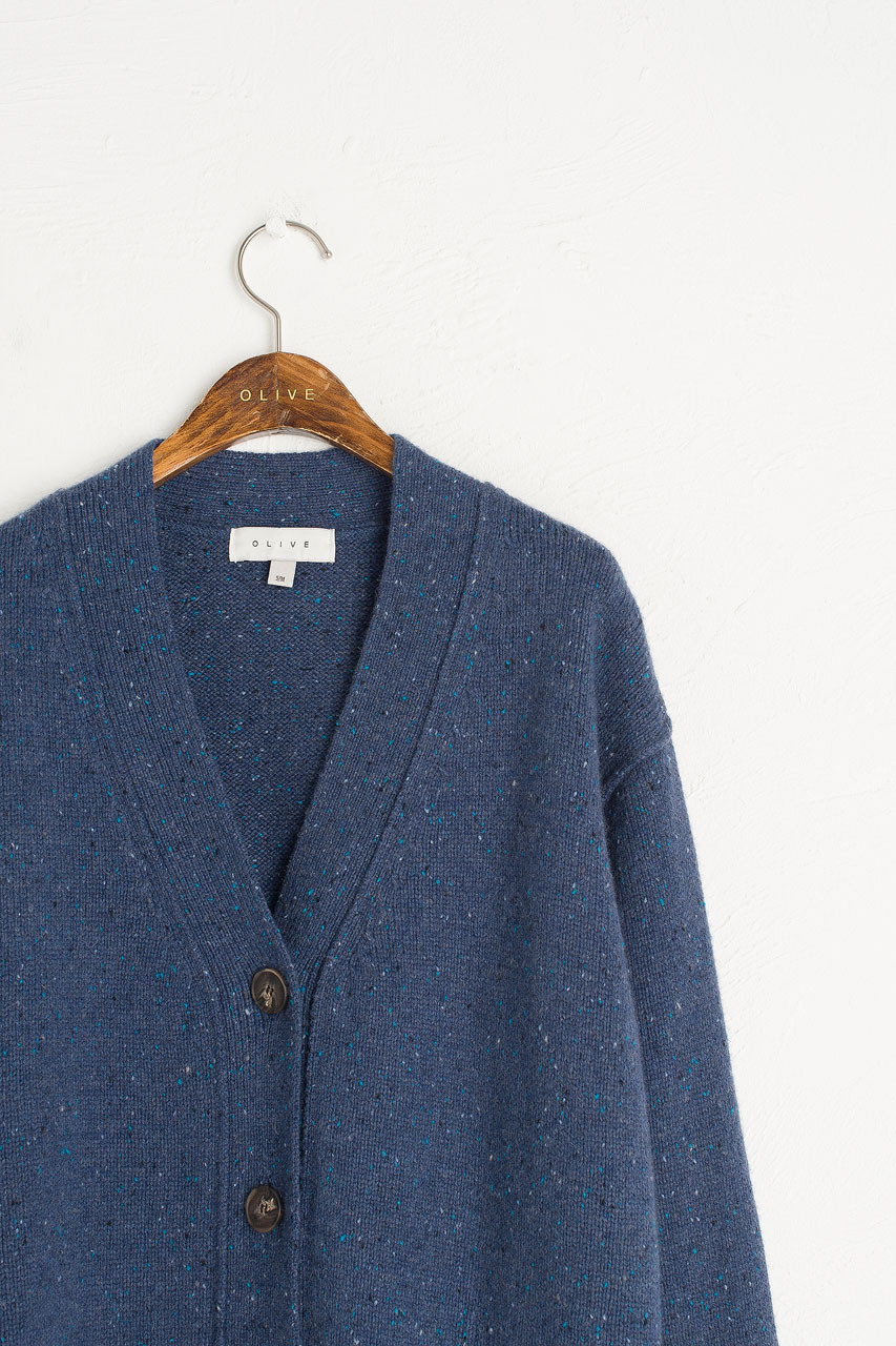 Flecked Boyfriend  Cardigan, Royal Blue
