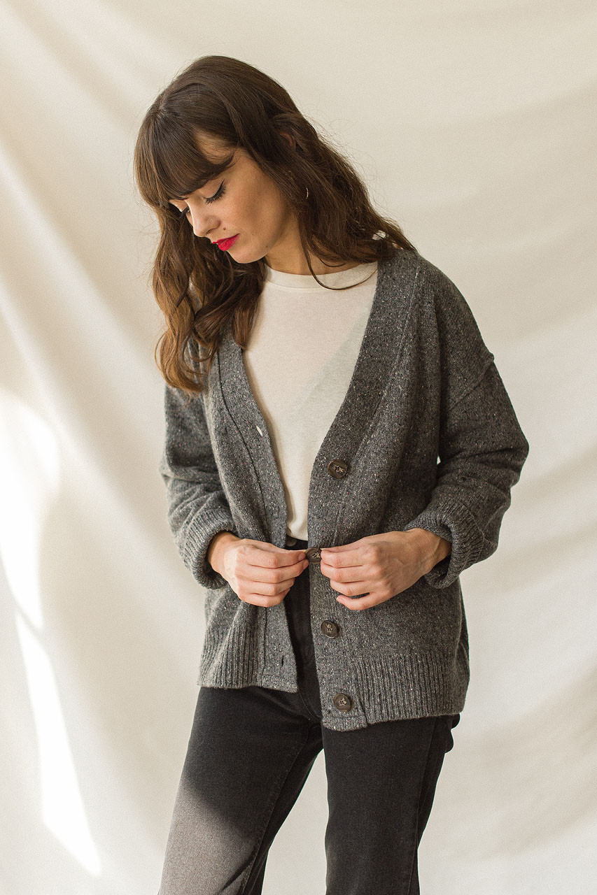Flecked Boyfriend  Cardigan, Grey
