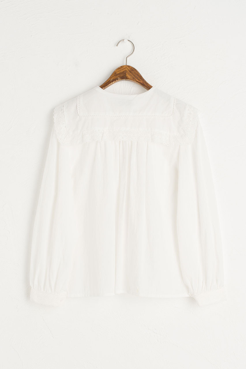 Nia Lace Collar Blouse, Ivory