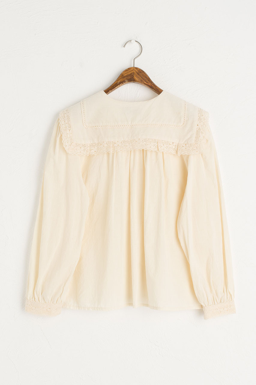 Nia Lace Collar Blouse, Butter