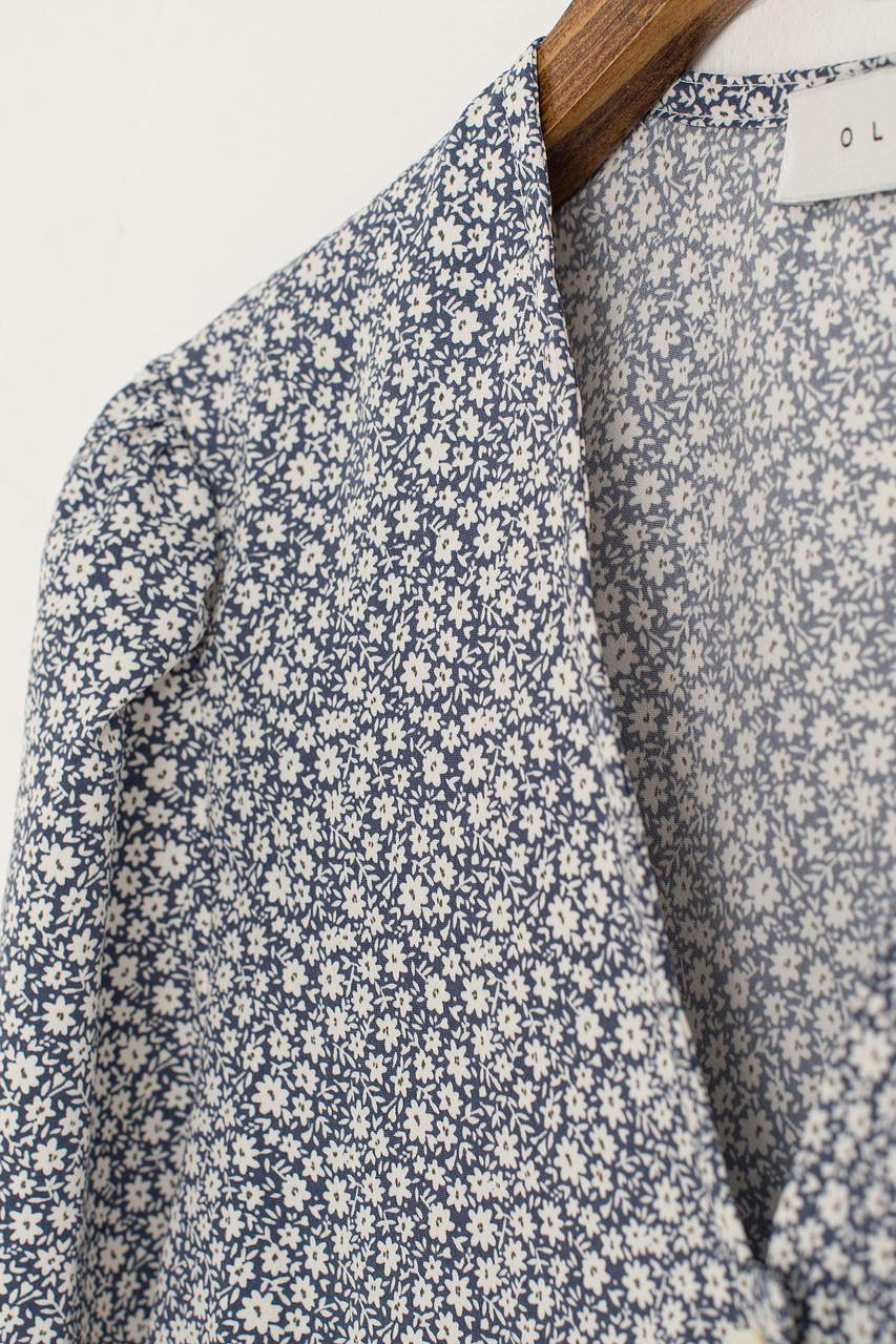 Lily Retro Blouse, Blue Flower