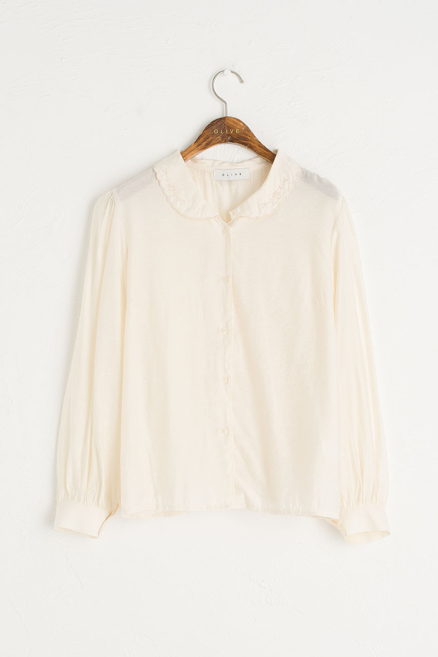 Rosa Collar Blouse, Ivory