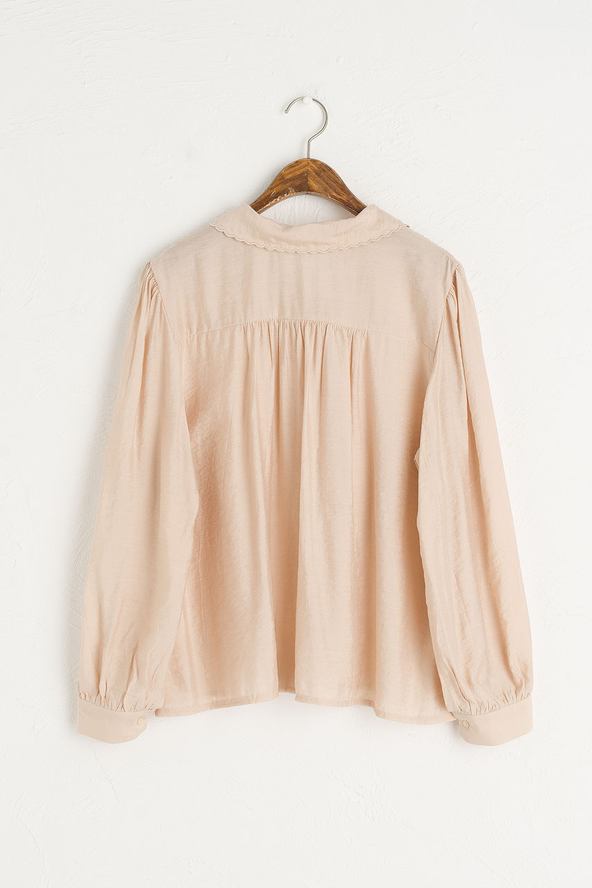 Rosa Collar Blouse, Beige