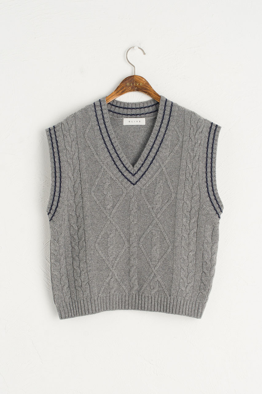 Contrast Stitch Wool Vest, Grey