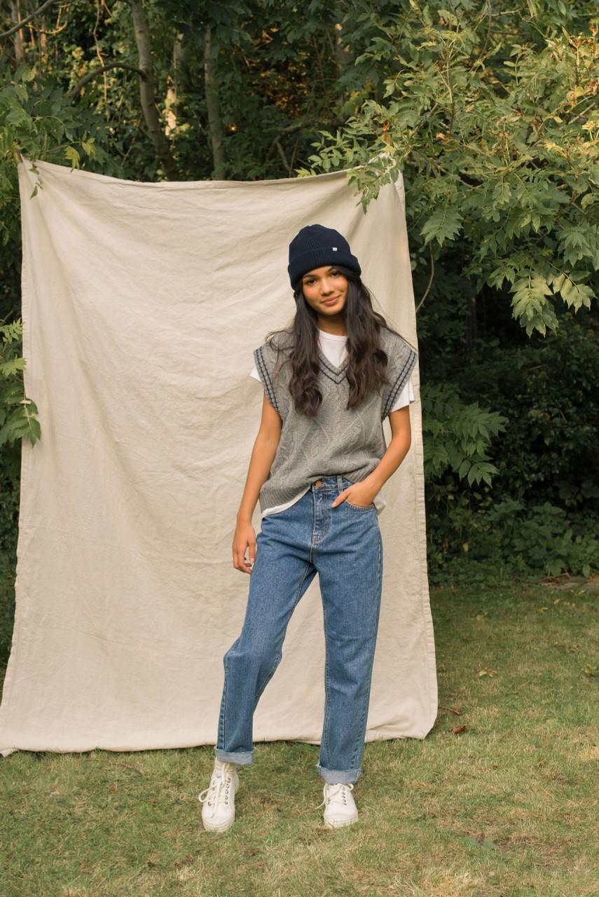 Contrast Stitch Wool Vest, Grey