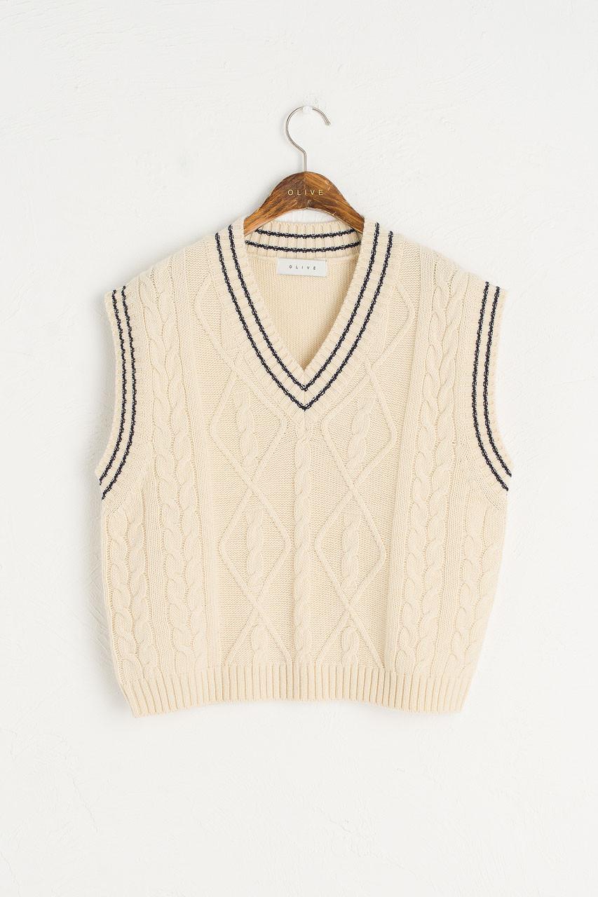 Contrast Stitch Wool Vest, Ivory