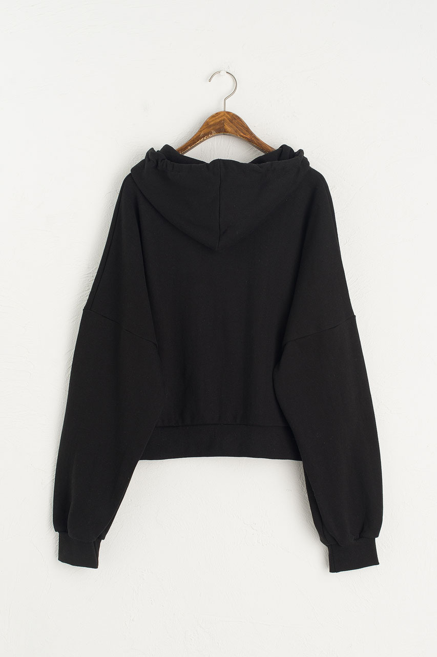 Zipped Hooded Sweatshirt, Black