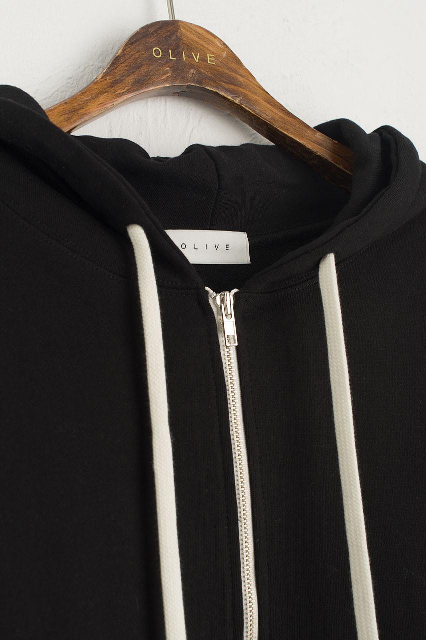 Zipped Hooded Sweatshirt, Black